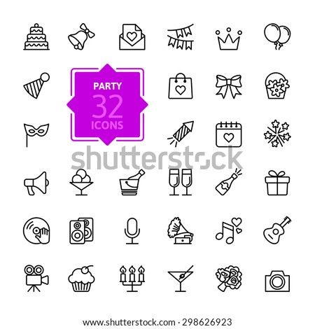 Outline web icon set - Party, Birthday, Holidays