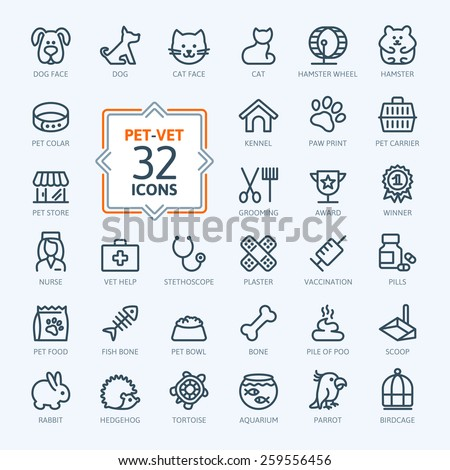 Outline web icon set - pet, vet, pet shop, types of pets