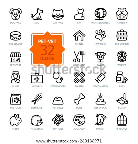 outline web icon set   pet  vet