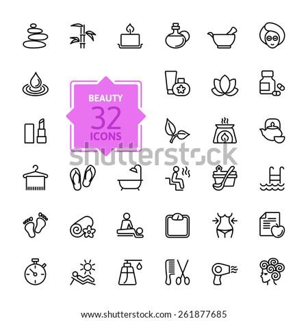 Outline web icon set  - Spa & Beauty