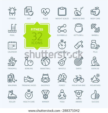 outline web icon set   sport