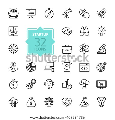 Outline web icon set - start-up project #409894786