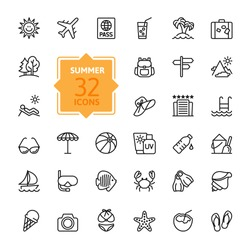 Outline web icon set - summer, vacation, beach