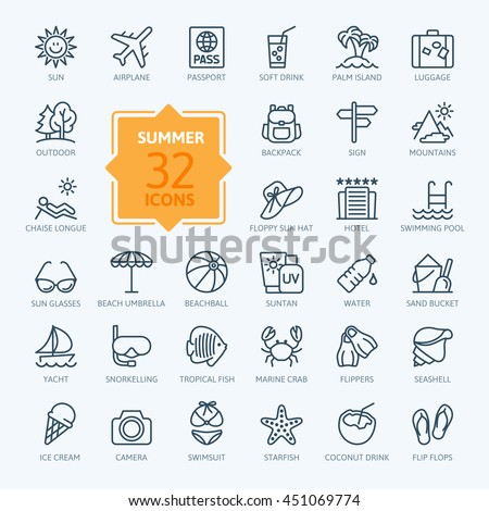 outline web icon set   summer