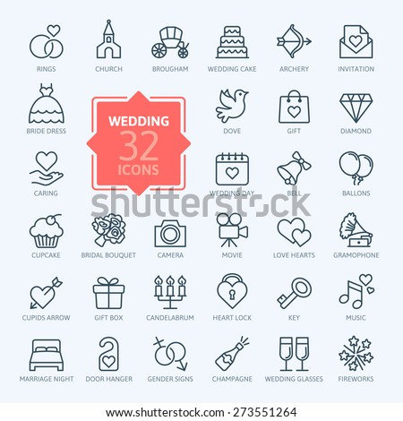 Outline web icon set - wedding