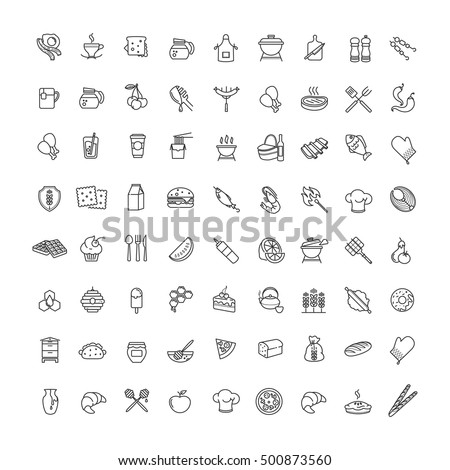 Outline web icons - fruits, food, seafood for your design