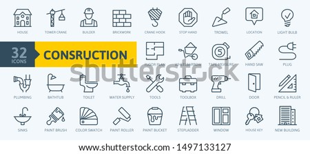 Outline web icons set - construction, home repair tools. Thin line web icons collection. Simple vector illustration.