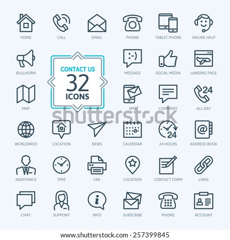 Outline web icons set - Contact us #257399845