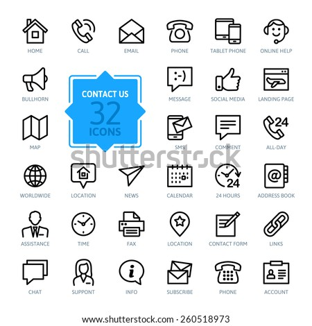 Outline web icons set - Contact us  #260518973
