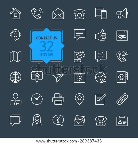 Outline web icons set - Contact us #289387433