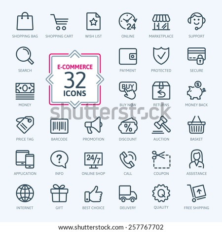 Outline web icons set - E-commerce #257767702