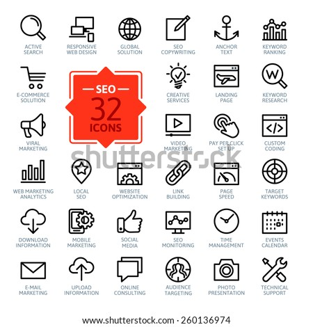 Outline web icons set - Search Engine Optimization  #260136974