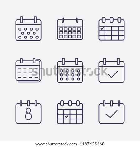 Outline 9 week icon set. calendar check and calendar vector illustration
