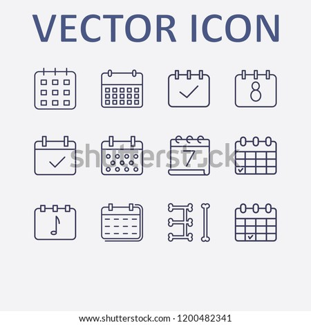 Outline 12 week icon set. calendar check and calendar vector illustration