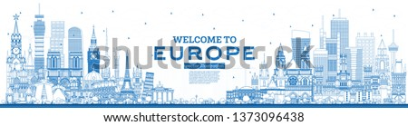 Outline Welcome to Europe Skyline with Blue Buildings. Vector Illustration. Tourism Concept with Historic Architecture. Europe Cityscape with Landmarks. London. Berlin. Moscow. Rome. Paris.
