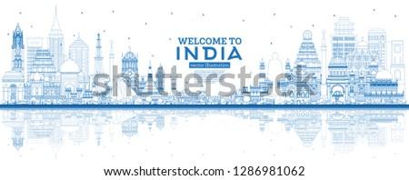 Outline Welcome to India City Skyline with Blue Buildings and Reflections. Delhi. Mumbai, Bangalore, Chennai, Hyderabad, Kolkata, Patna, Visakhapatnam. Vector Illustration.