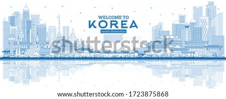 Outline Welcome to South Korea City Skyline with Blue Buildings and Reflections. Vector Illustration. Tourism Concept with Historic Architecture. South Korea Cityscape with Landmarks. Seoul. Busan.