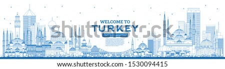 Outline Welcome to Turkey Skyline with Blue Buildings. Vector Illustration. Tourism Concept with Historic Architecture. Turkey Cityscape with Landmarks. Izmir. Ankara. Istanbul.