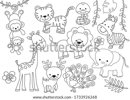 Outline wild safari animals vector illustration for coloring. Jungle animals line art including monkey, tiger, zebra, giraffe, lion, elephant, snake, deer and peacock. Foto stock ©