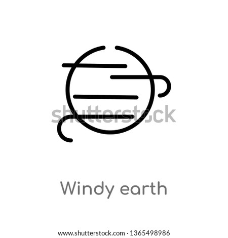 outline windy earth vector icon. isolated black simple line element illustration from meteorology concept. editable vector stroke windy earth icon on white background