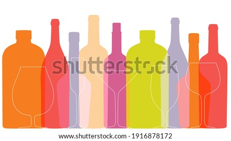 Outline wine bottles and glasses on white background. Color background with contour bottles and glasses. Silhouettes in overprint style. Vector template for menu, festival, banner. Сток-фото ©
