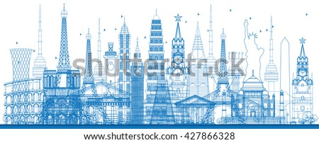 outline world famous landmarks