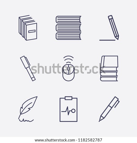 Outline 9 writing icon set. book, wifi mouse, feather pen, medicine clipboard and pen vector illustration #1182582787