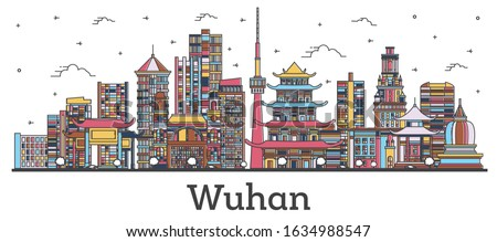 Outline Wuhan China City Skyline with Color Buildings Isolated on White. Vector Illustration. Wuhan Cityscape with Landmarks.