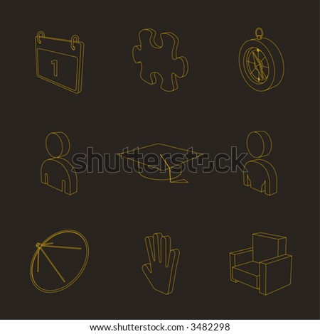 outline yellow 3d icon set 05
