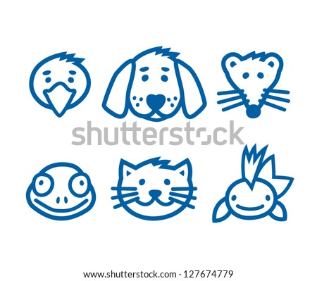 outlined animal  pets icon set