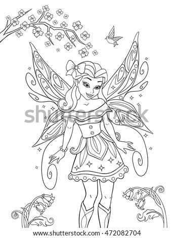 outlined beautiful fairy