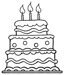 Outlined Birthday Cake With Three Candles.Vector Illustration