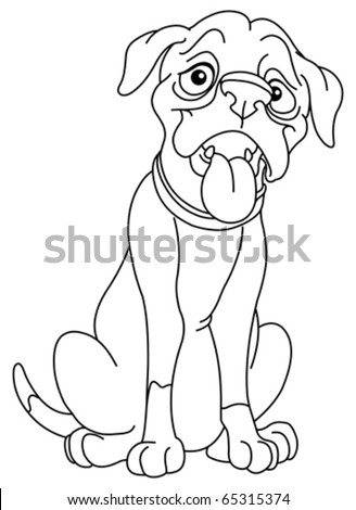 Outlined boxer dog - stock vector