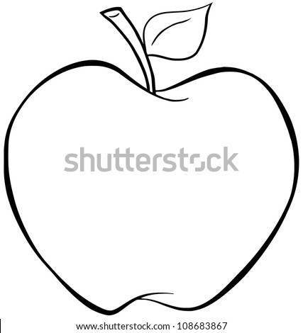 outlined cartoon apple vector