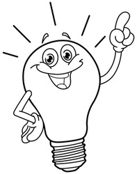Outlined cartoon light bulb. Vector illustration coloring page.