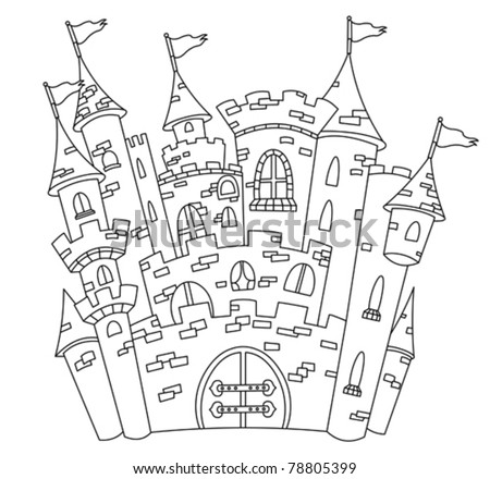 Outlined castle - stock vector