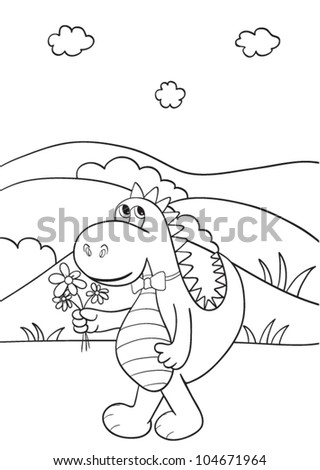 Outlined cute cartoon dragon for coloring book. Vector illustration.