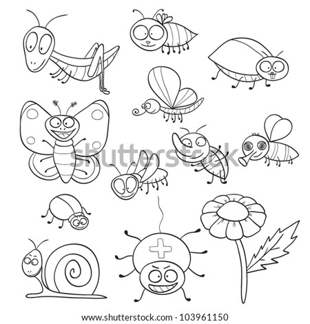 Outlined Cute Cartoon Insects For Coloring Book Vector