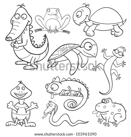 Outlined cute cartoon reptiles and amphibians for coloring book. Vector illustration.