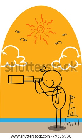 Outlined Doodle Cartoon vector happy businessman  holiday summer