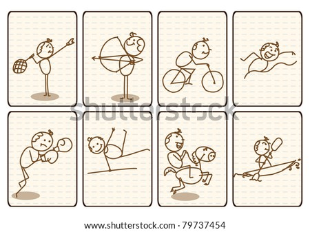 Outlined Doodle Cartoon vector sport sign collection