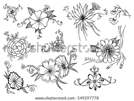 Outlined flowers. Vector illustration