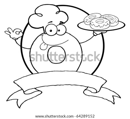Outlined Friendly Donut Chef Cartoon Character Holding A Donuts Banner