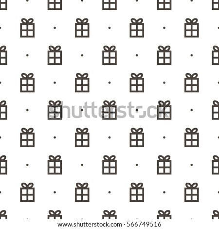 Outlined gift boxes, presents and dots seamless pattern background.
