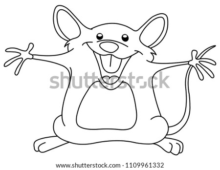 outlined happy mouse raising
