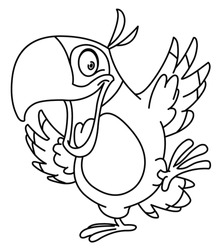 Outlined happy parrot dancing. Vector line art illustration coloring page.