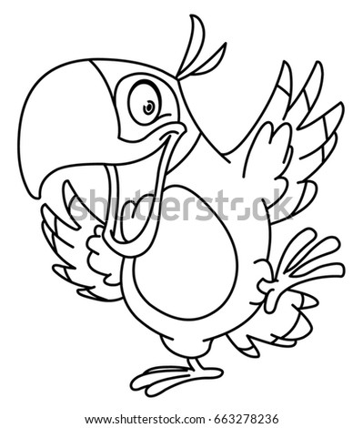 outlined happy parrot dancing