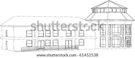 Outlined illustration depicting administrative building