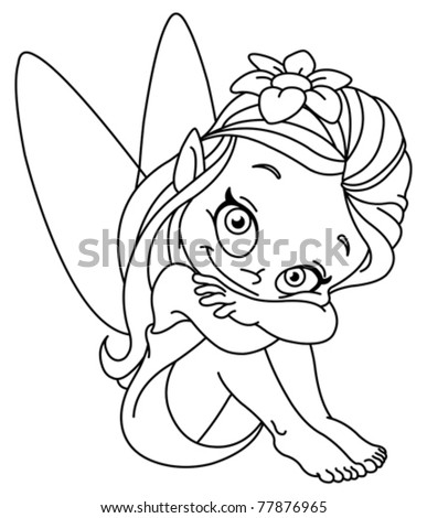 Outlined illustration of a little fairy