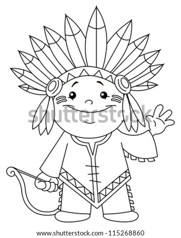 Outlined Indian Kid Coloring Page Stock Vector